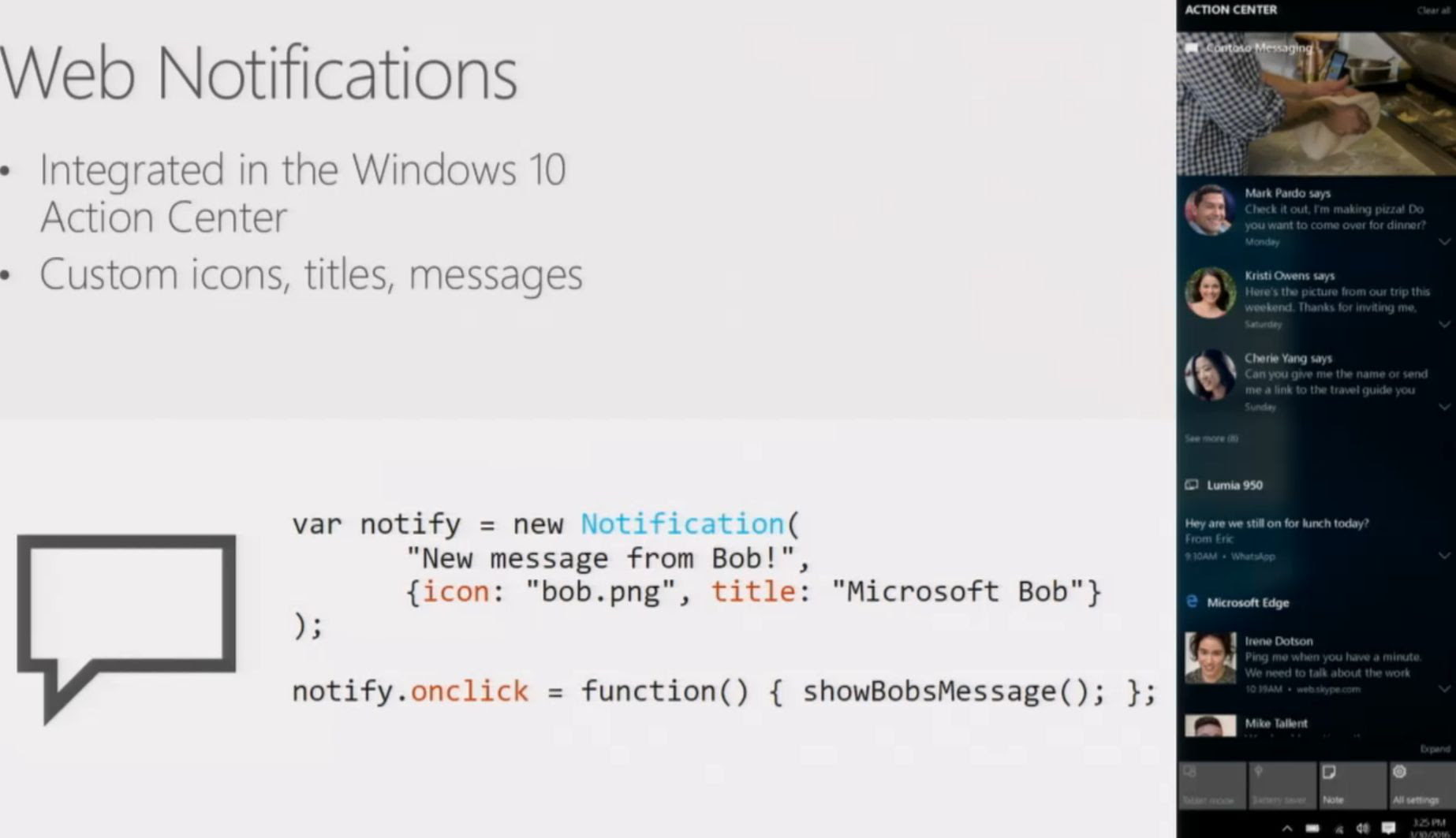 Microsoft Edge web notifications