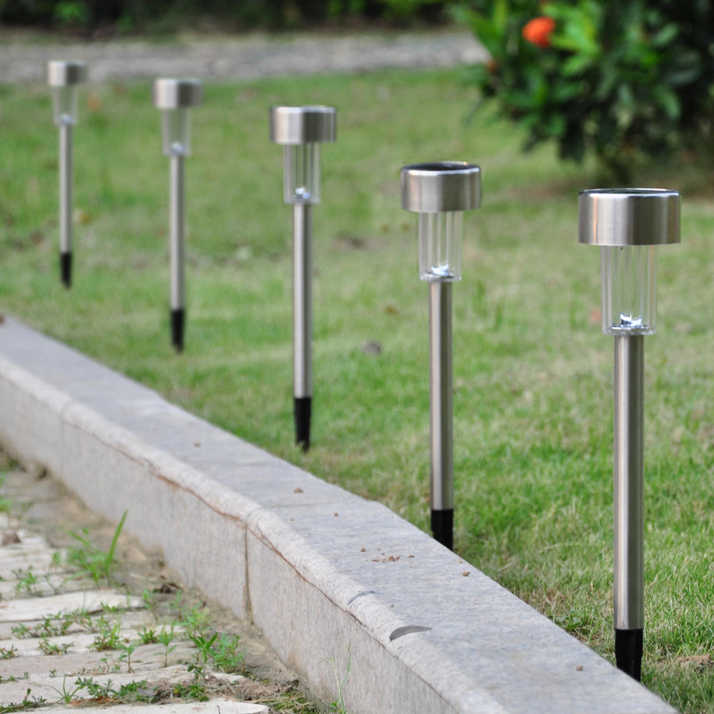 6 Pack Outdoor Stainless Steel LED Solar Power Light Garden Path Landscape Lamps