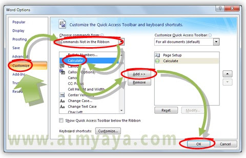 Gambar: Cara menambah tombol Calculate ke quick access toolbar  di microsoft word