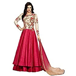 Smily Creation Women's Cottton silk embroiderd Long Gown(Pink_Freesize)
