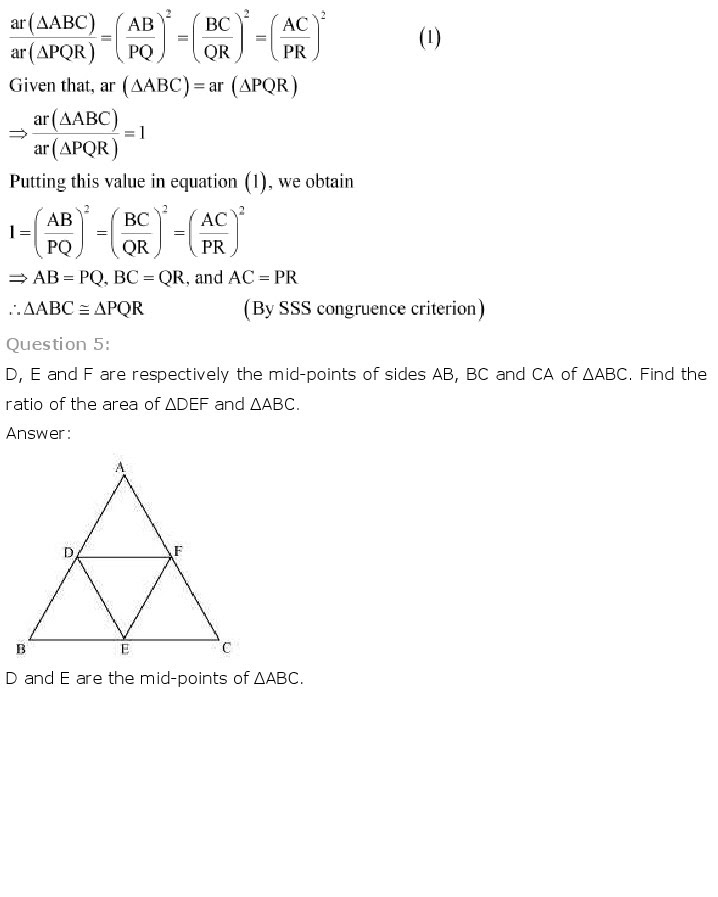 NCERT Solutions for Class 10th Maths Chapter 6 - Triangles