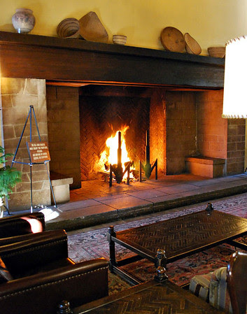 Fireplace in the Great Lounge at the Ahwahnee Hotel