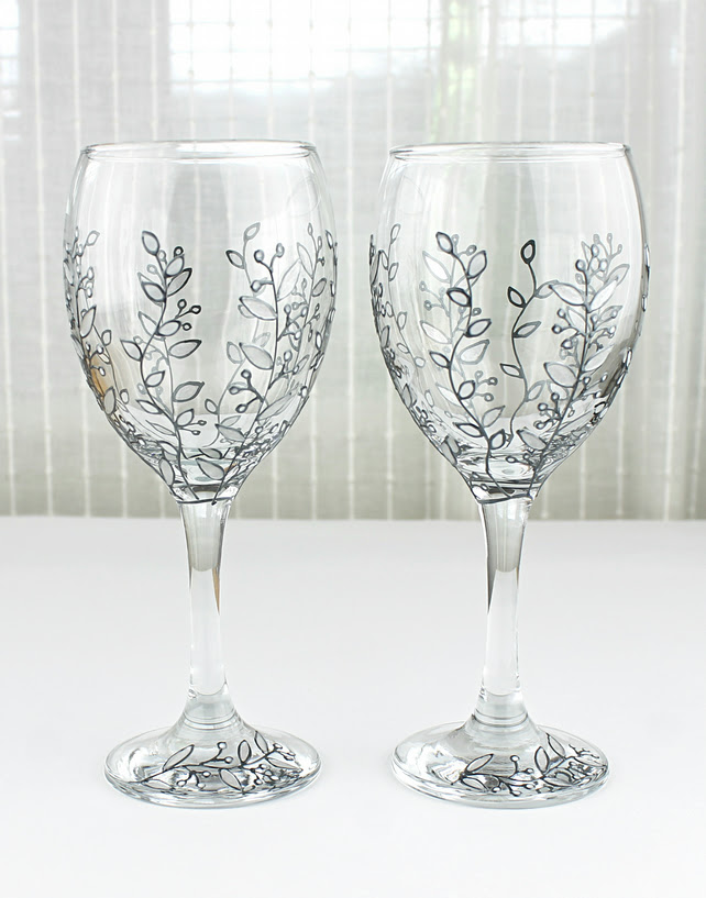 Hand Painted Wine Glasses Silver Floral Design Folksy