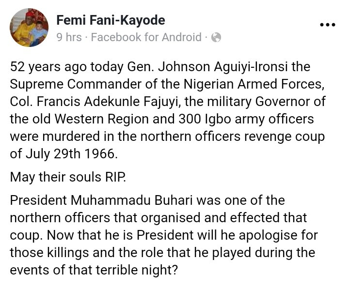 FFK: 'Buhari Among Northern Officers That Plotted Killing Of Ironsi 58 Years Ago'