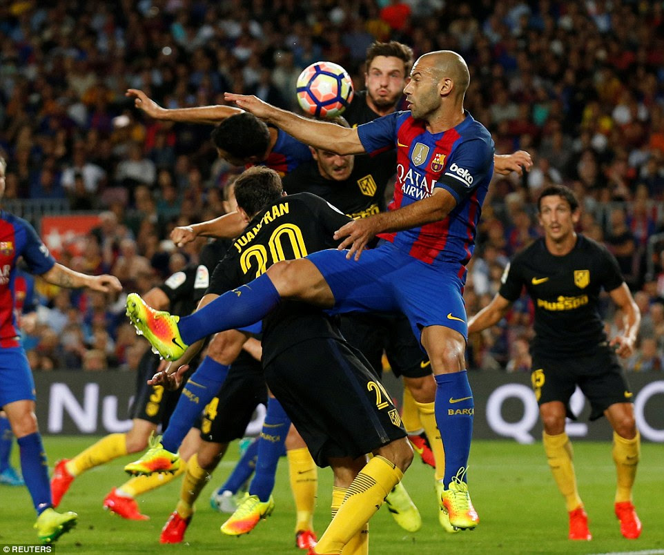 Barcelona defender Javier Mascherano battles for the ball during the tight La Liga clash at the Camp Nou