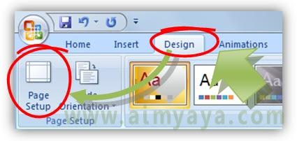 Gambar: Cara mengatur ukuran kertas melalui page setup microsoft powerpoint