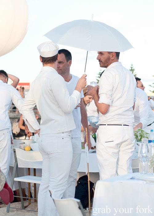 Sailors and white umbrellas at Diner en Blanc Sydney 2013 Bondi Beach