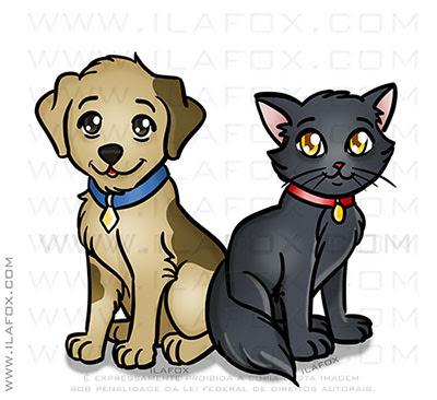 desenho mascote gato e cachorro, cachorro amarelo, gato preto, ong, brigada planetária, belo horizonte, by ila fox