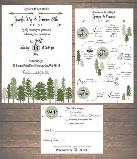 Printable Mountain Weekend Wedding Invitation Kit