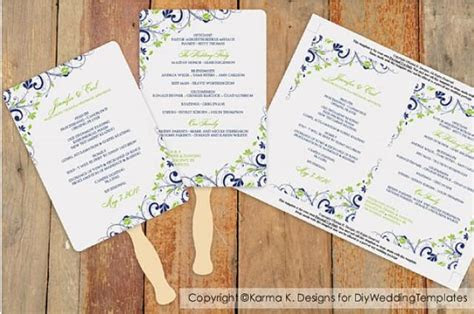 diy wedding fan program template  instantly