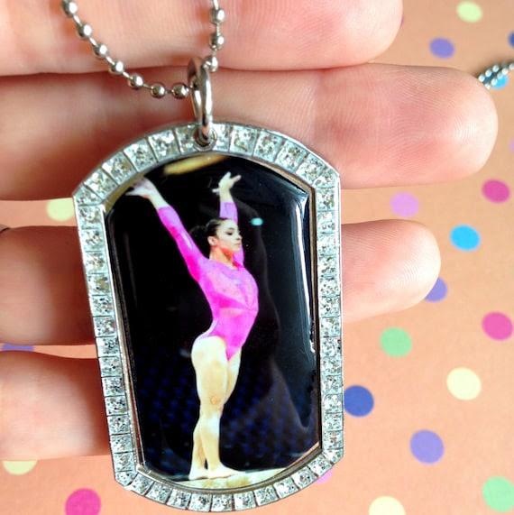 dog tag pendant gymnastics handmade hand x stand etsy