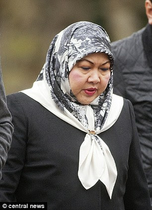 Mariam Aziz, the ex-wife of the Sultan of Brunei, arriving at court to give evidence in the trial of her bodyguard
