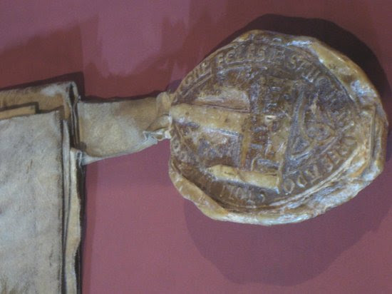 Museum of the University of St Andrews: seal of the priory of St. Andrews dated 1512, showed the Cathedral before it fell into the ruins