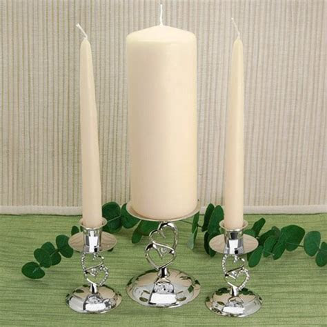 Ivory unity candle set, ivory wedding taper candles