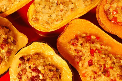 A trio of baked stuffed squashes by Eve Fox, Garden of Eating blog