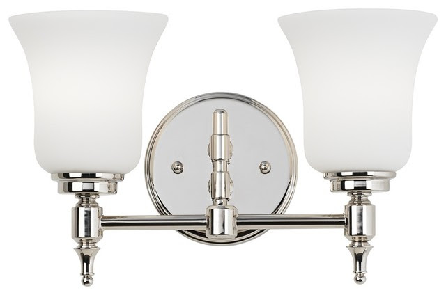 """Traditional 2-Light Etched Glass 13 3/4"""" Wide Nickel Bathroom"""