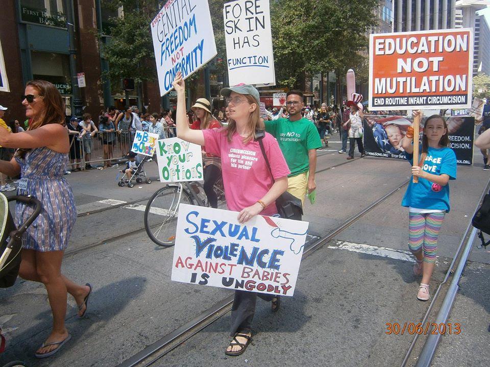 Bay Area Intactivist marchers in SF Pride, 2013