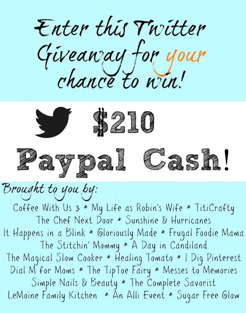 $210 PayPal Cash Giveaway just for following bloggers you already love on Twitter! :)