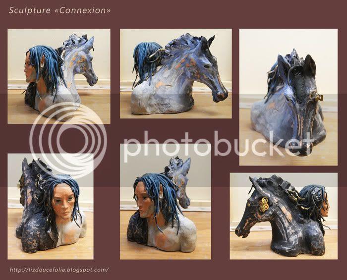 sculpture steampunk double bust double buste cheval elfe horse elf man clay argile