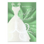 Bridal Shower in Mint Green Satin 5x7 Paper Invitation Card