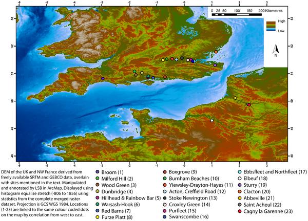 Figura 1 La distribución de la Baja al Paleolítico Medio (pre-MIS 5) sitios en Gran Bretaña y el norte de Francia, con más de 500 bifaces (incluyendo roughouts) y otros sitios clave hace referencia en el texto.