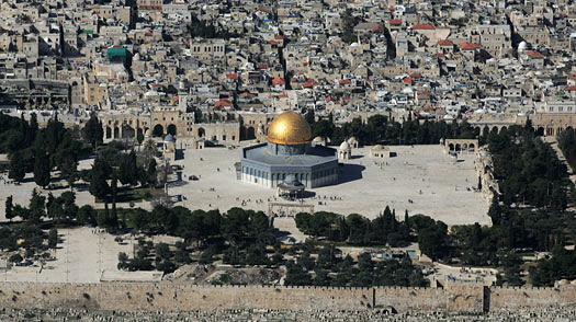 An aerial view shows the Dome of the Rock in Jerusalem's old city.