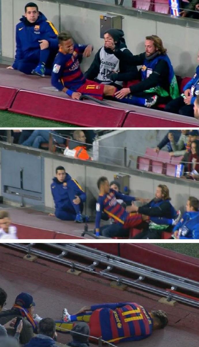 Neymar cai e atropela fotógrafo