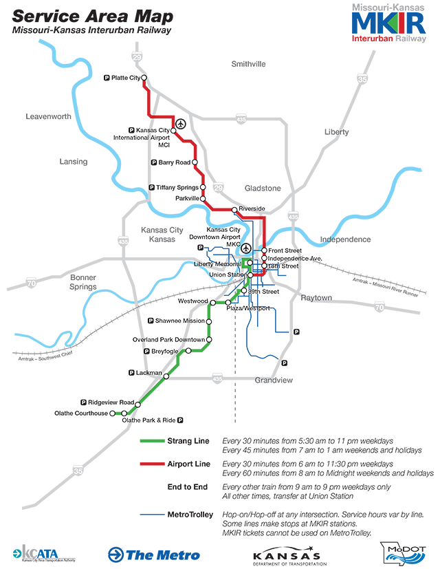 MKIR Service Area Map for 2012. What would Kansas City be like if we still had the Strang Line and Streetcars?