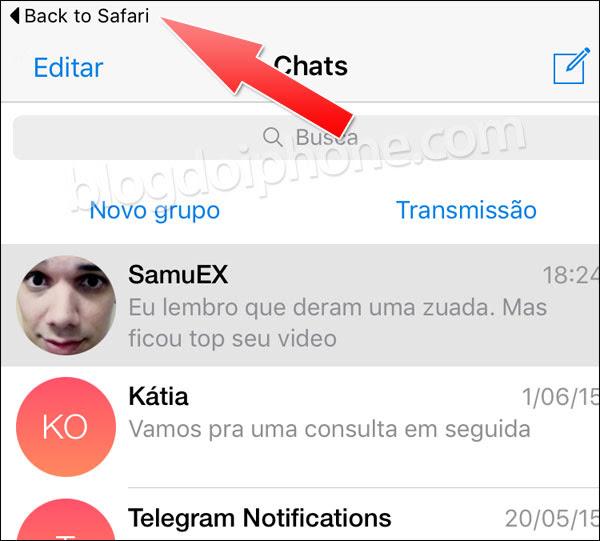 Atalho app notificações