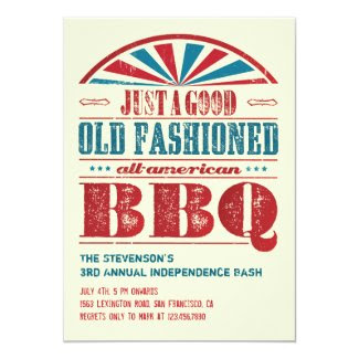 "July 4 Independence Day BBQ Grunge Invitation 5"" X 7"" Invitation Card"