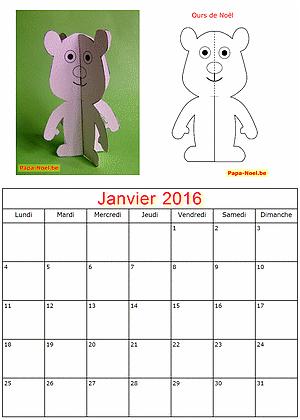 Calendrier Janvier 2016 à imprimer gratuit