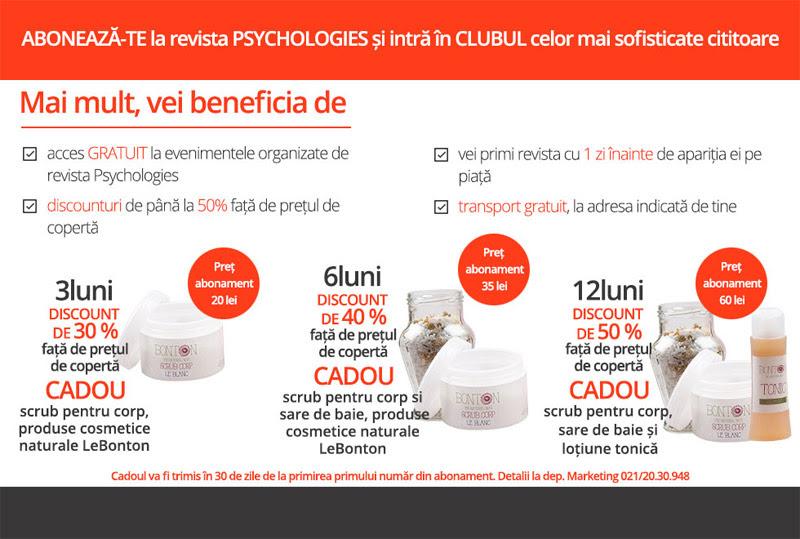 Oferta de abonament pentru revista Psychologies