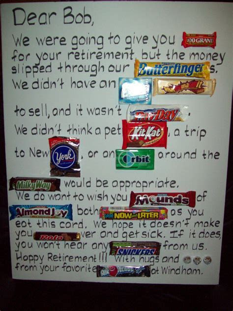 Candy Retirement or even a birthday or travel card