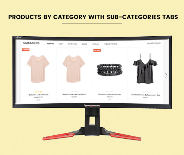 Display products by category with filtering by sub-category tabs