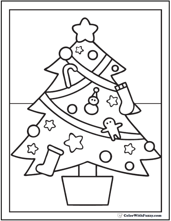 Christmas Tree Worksheets Coloring Pages