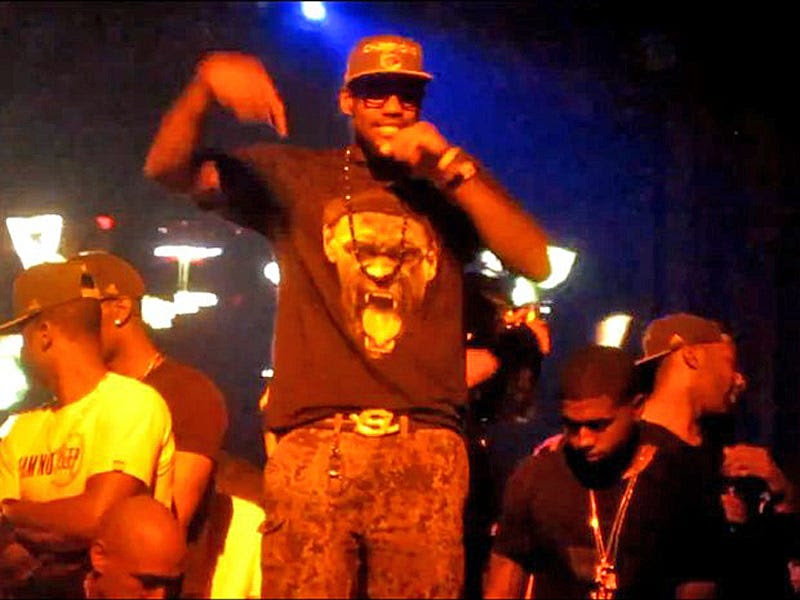 ... like when he wore this awesome fang shirt at a nightclub after the Heat won the title in 2012, ...
