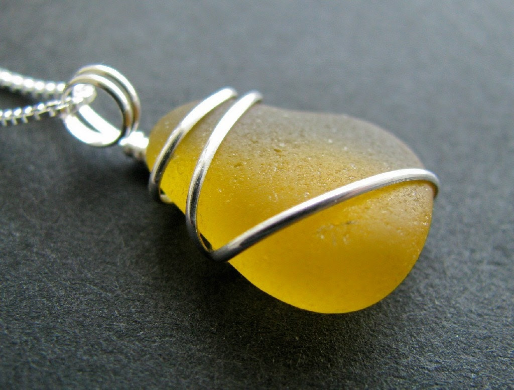 Drop of Sunshine  Yellow Sea Glass Necklace