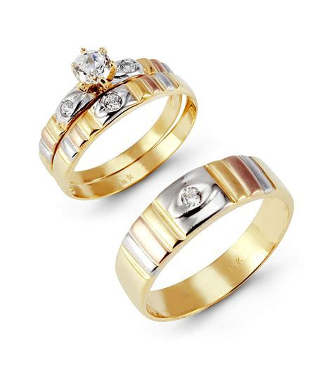 14k Tri Color Gold Round Cut CZ Ribbed Wedding Ring Set
