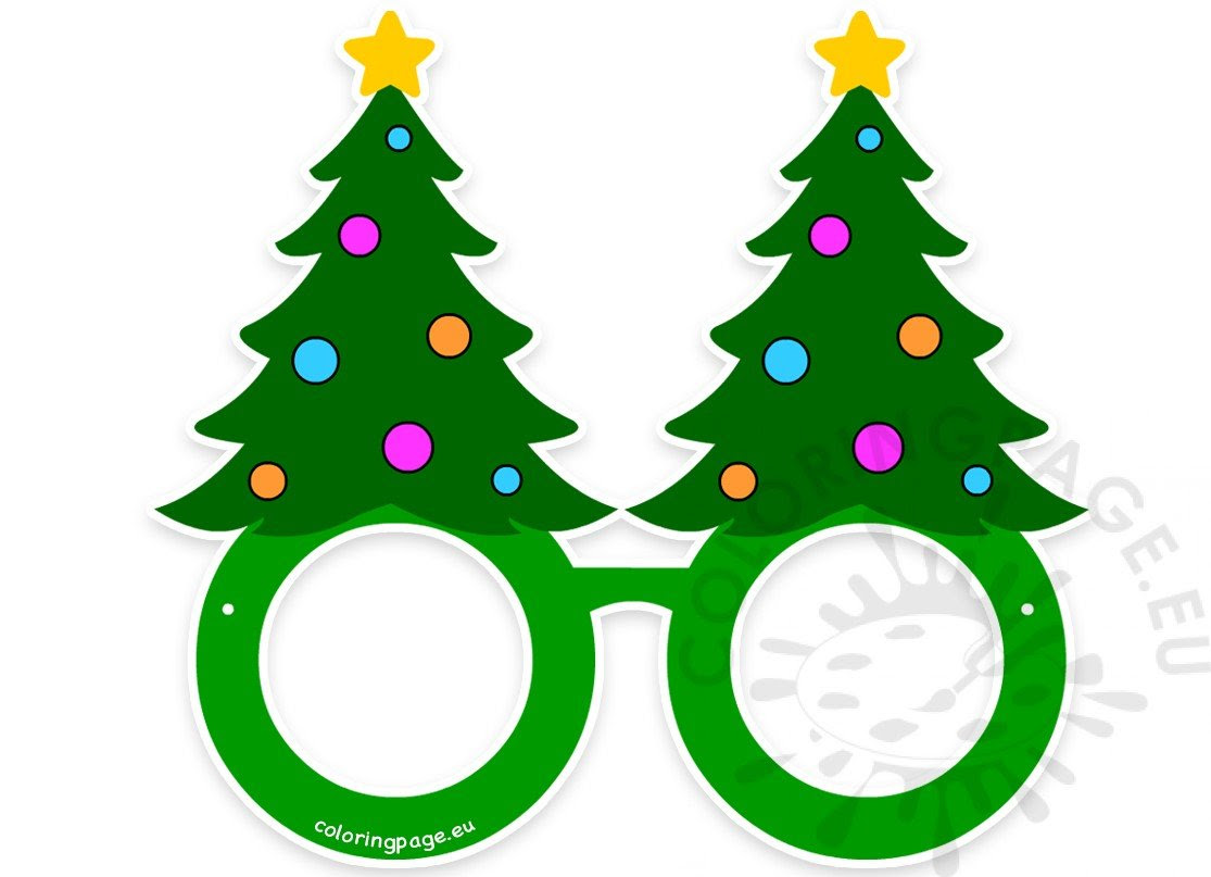 Christmas Tree glasses paper craft printable - Coloring Page