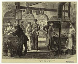 Oyster stands in Fulton Market... Digital ID: 806180. New York Public Library