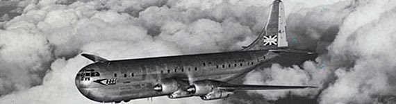 Stratocruiser aircraft in flight..