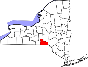 Map of New York highlighting Broome County