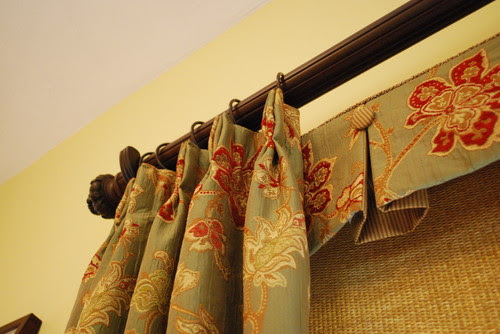Box Pleated Valances with Buttons, Woven Roller Shades & Pleated Panels traditional family room