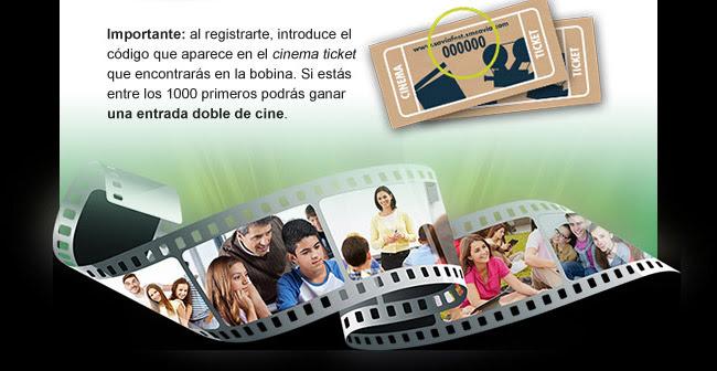 Importante: al registrarte, introduce el código que aparece en el cinema ticket que encontrarás en la bobina. Si estás entre los 1.000 primeros podrás ganar una entrada doble de cine.