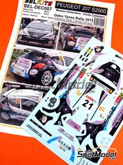 Belkits: Calcas escala 1/24 - Peugeot 207 S2000 La Pomme Nº 21 - Melissa Debackere (BE) + Cindy Cokelaere (BE) - Rally de Ypres de Belgica 2011 - para kit de Belkits BEL-001