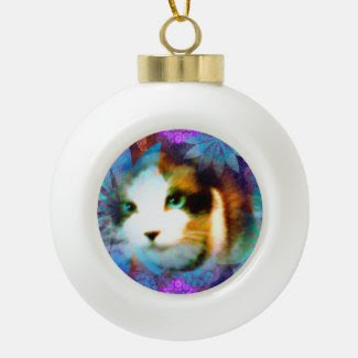 snowshoe field of flowers kitty ceramic ball christmas ornament