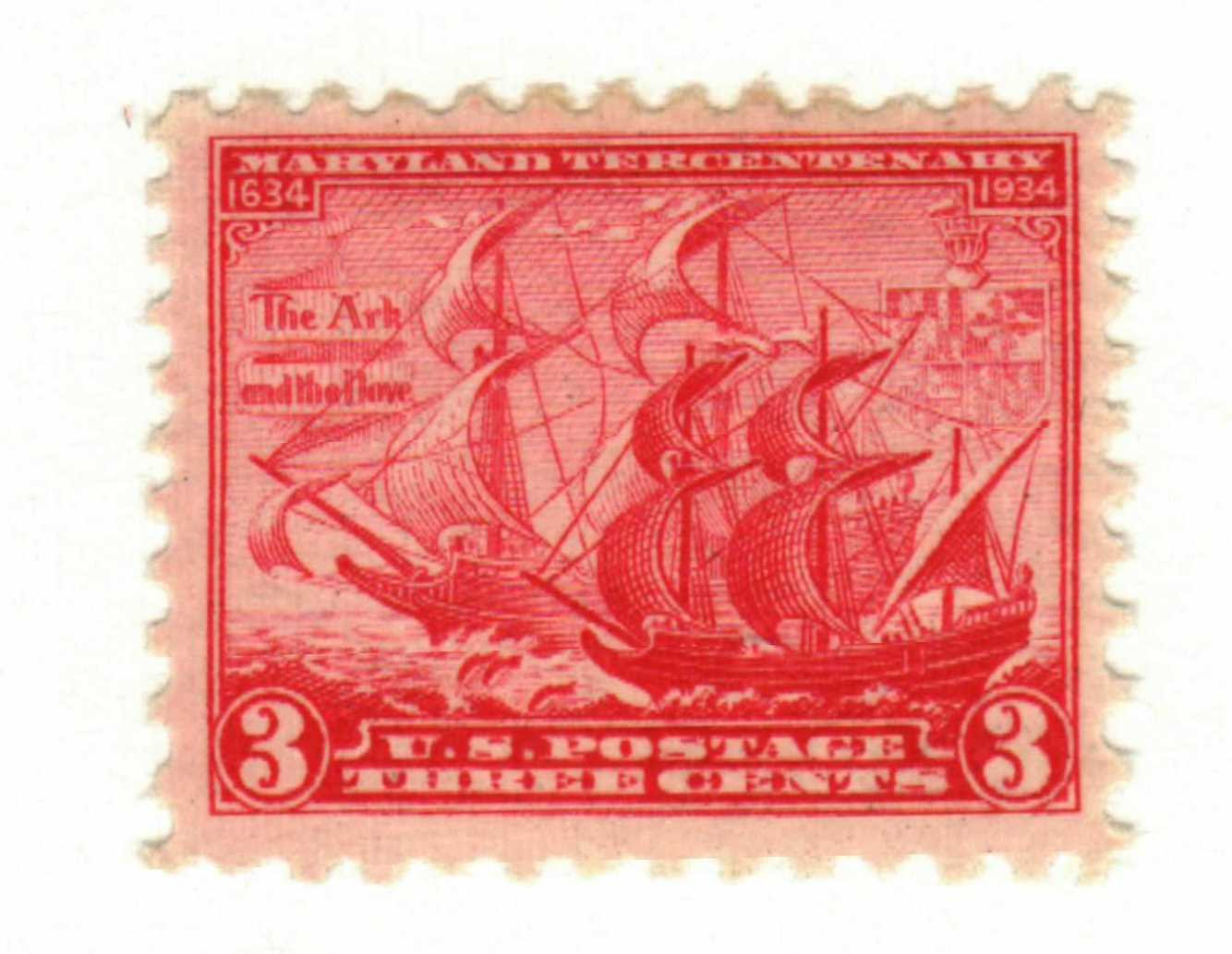 Maryland tercentenary postage stamp: The Ark and the Dove, 1934 Issue