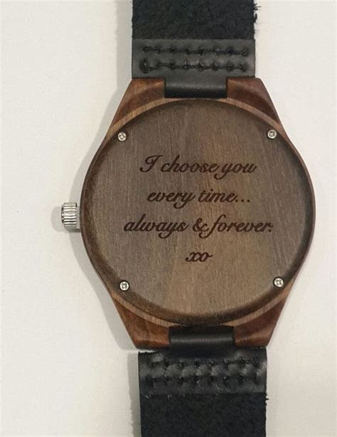 Engraved wooden watch, valentines day gift, personalized