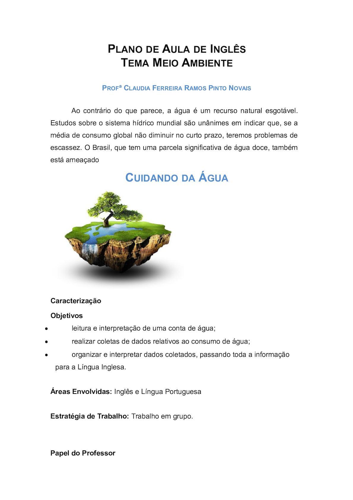 Calaméo Plano De Aula De Inglês Meio Ambiente