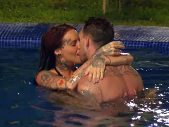 Jemma Lucy enjoys a snog in the pool on MTV's Ex On The Beach. Picture: MTV